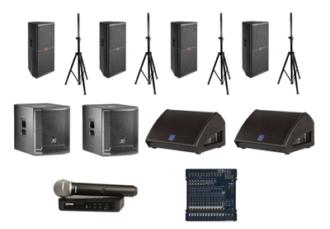 Комплект звука 5 кВт - 4 колонки на стойке, 2 сабвуфера, 2 монитора, радиомикрофон, микшер, коммутация - прокат на мероприятие, конференцию для спикеров в МСК цена, аренда звука 5000 Вт в СПб стоимость