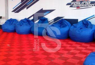 Кресло мешок небольшой синий Bean Bag Mini аренда на мероприятие в СПб и МСК цена, кресло груша Бин Бег маленький в синем чехле прокат