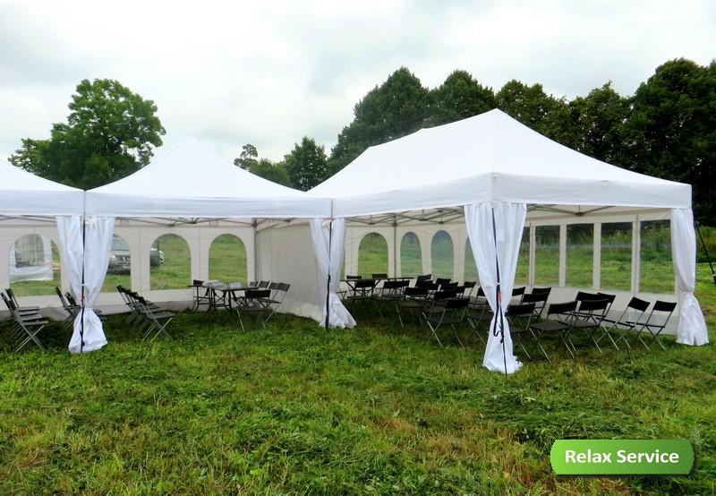 Сцена, шатры и оборудование для фестиваля Козьмы Пруткова