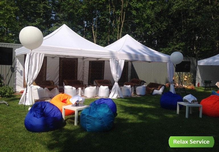 Шатры, бескаркасная мебель и декорирование на мероприятие в Зеленогорске