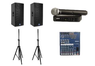Комплект звука 1 кВт - 2 колонки на стойке, радиомикрофон, микшер, коммутация - прокат на мероприятие, конференцию для спикеров в МСК цена, аренда звука 1000 Вт в СПб стоимость