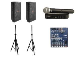 Комплект звука 2 кВт - 2 колонки на стойке, радиомикрофон, микшер, коммутация - прокат на мероприятие, конференцию для спикеров в МСК цена, аренда звука 2000 Вт в СПб стоимость
