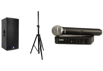 Комплект звука 500 Вт. (колонка на стойке, радиомикрофон) аренда на мероприятие, конференцию для спикеров в МСК и СПб цена