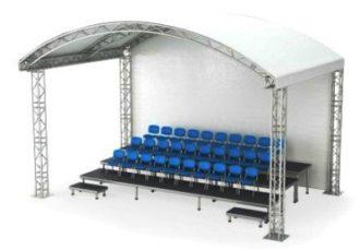 Аренда VIP трибуны для зрителей с крышей-навесом на 30 или 60 человек для мероприятия в МСК цена, взять в прокат зрительскую трибуну с граундом в 3 или 4 ряда в СПб стоимость