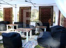 Бескаркасный диван Urban в черном чехле аренда на мероприятие в СПб и МСК цена