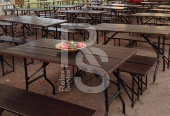 Стол реечный деревянный 120 см. аренда в СПБ и МСК на мероприятие цена