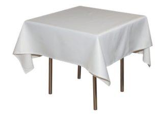 Аренда квадратной белой скатерти на стол на выездной банкет цена, взять в прокат скатерть квадратную для банкетного стола для кейтеринга в СПб стоимость
