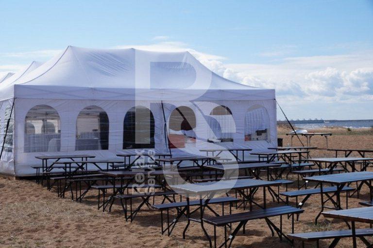 Пивной набор аренда реечный стол и 2 реечные лавки на мероприятие в СПб цена