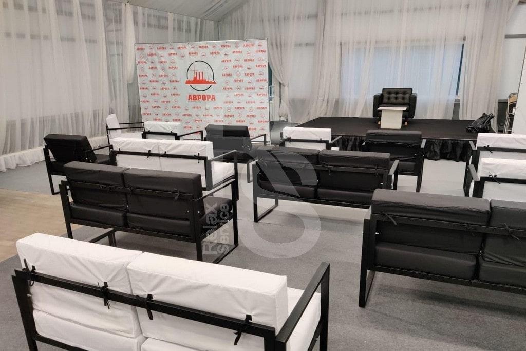 Аренда LOFT кресел и диванов черных и белых на мероприятие в Санкт-Петербурге