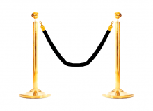 Золотой столбик с черным канатом