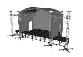Сцена 6х4 м с арочной крышей и порталами